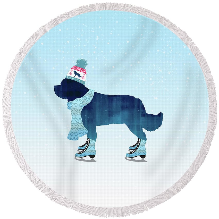 Newfoundland Round Beach Towel featuring the digital art Colorful Skater by Christine Mullis