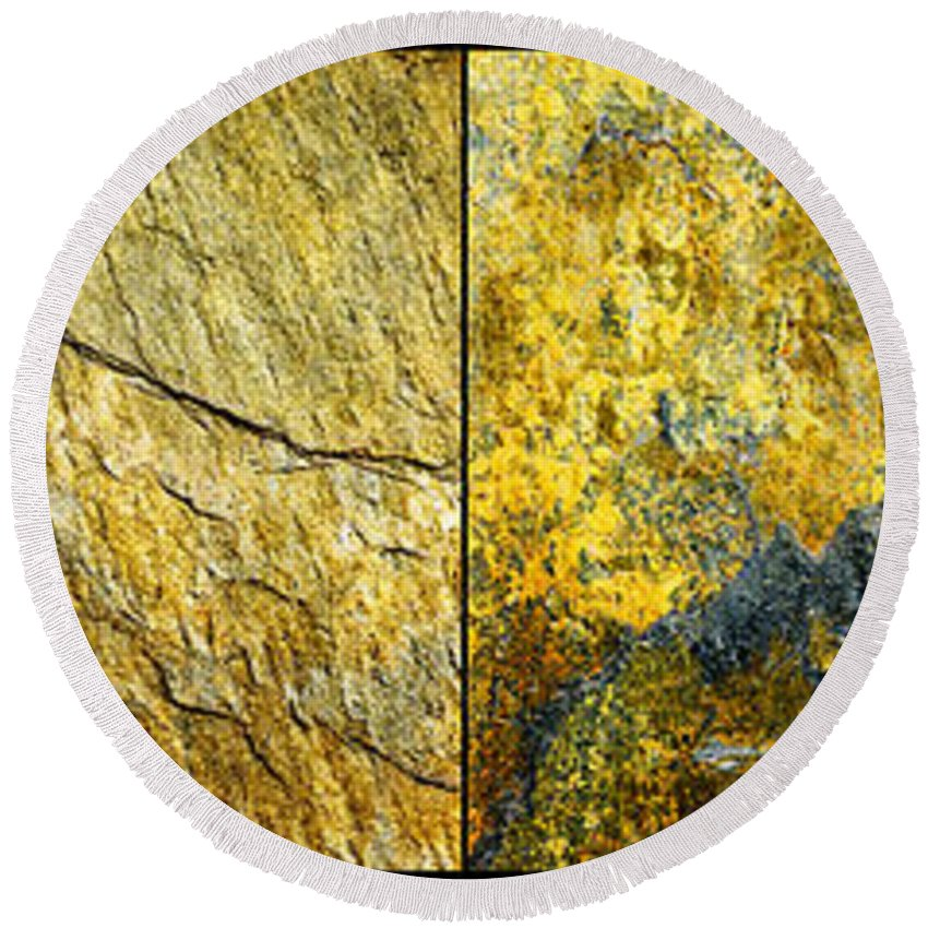 Abstract Round Beach Towel featuring the photograph Colorful Slate Tile Abstract Composite H2 by Donald Erickson