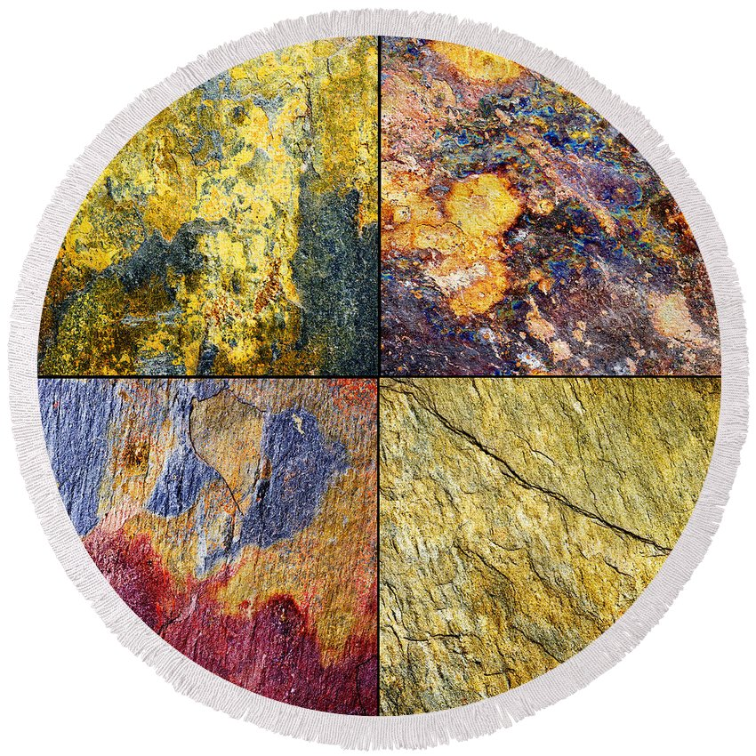 Abstract Round Beach Towel featuring the photograph Colorful Slate Tile Abstract Composite Sq1 by Donald Erickson