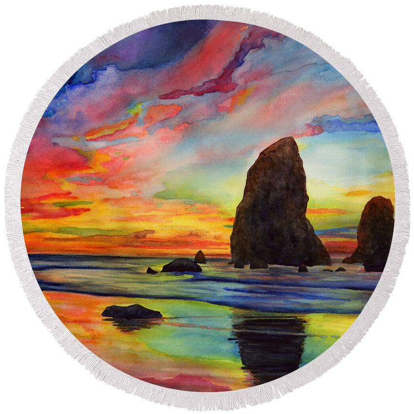 Sunset Round Beach Towel featuring the painting Colorful Solitude by Hailey E Herrera