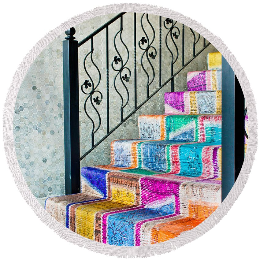 Antique Round Beach Towel featuring the photograph Colorful stairs by Tom Gowanlock