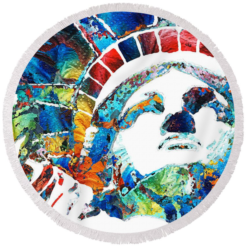 Statue Of Liberty Round Beach Towel featuring the painting Colorful Statue Of Liberty - Sharon Cummings by Sharon Cummings