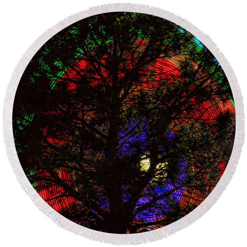 Round Beach Towel featuring the photograph Colorful Tree by James BO Insogna
