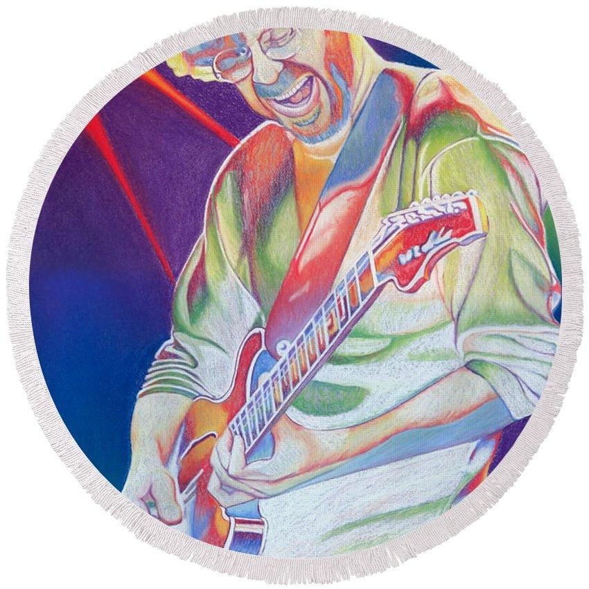 Phish Round Beach Towel featuring the drawing Colorful Trey Anastasio by Joshua Morton