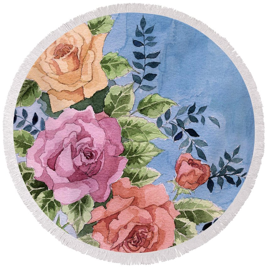 Roses Round Beach Towel featuring the painting Colorfull Roses by Alban Dizdari