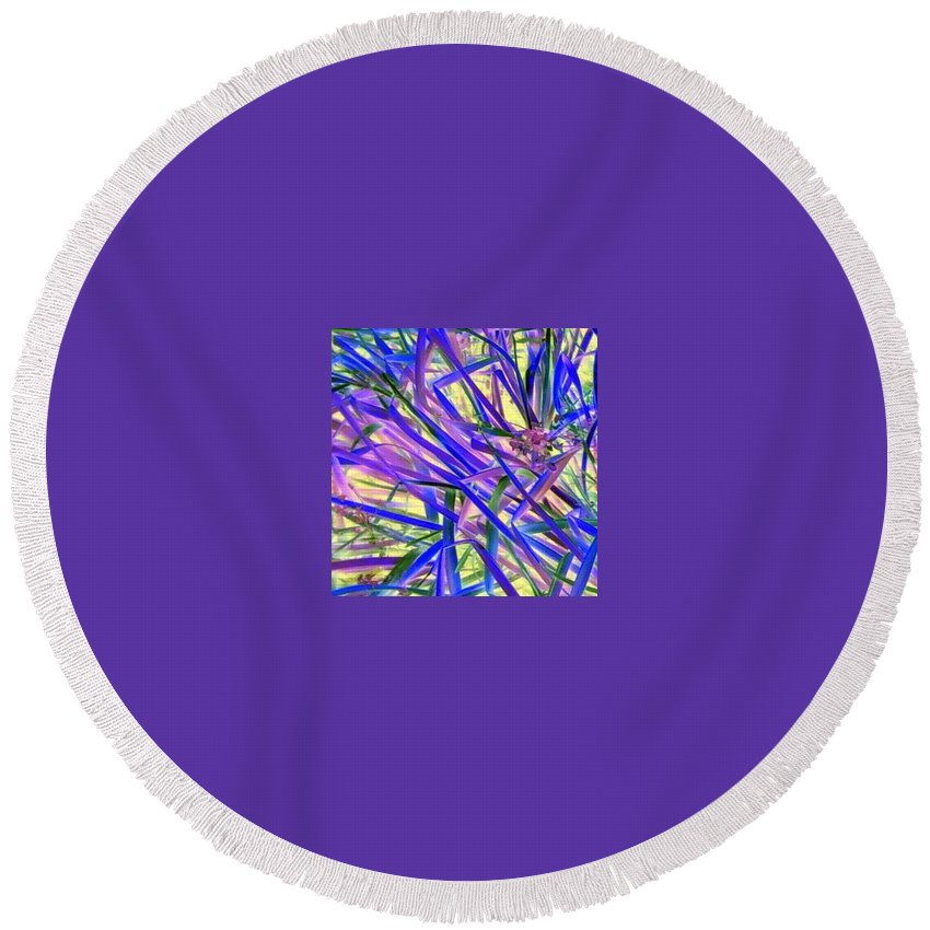 Blue Green Purple Negative Round Beach Towel featuring the photograph Colors by Cindy New
