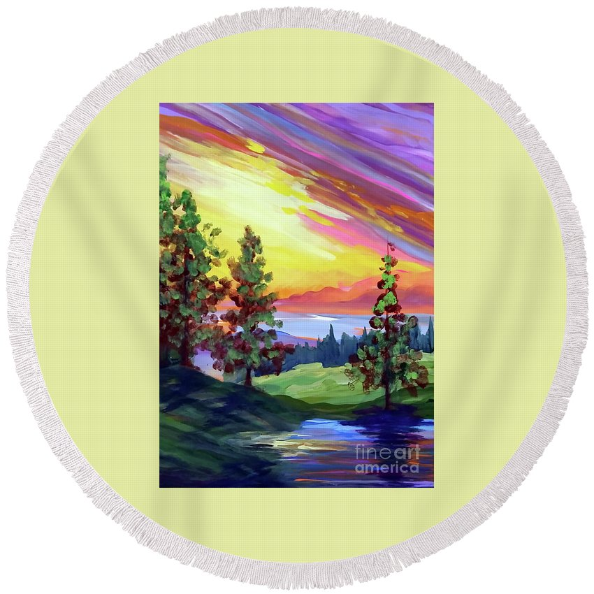 Landscape Round Beach Towel featuring the painting Colors In The Sky by Dipali Shah