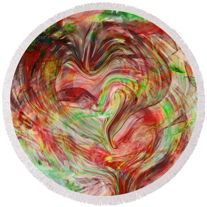 Abstract Art Round Beach Towel featuring the digital art Colors Of Love by Linda Sannuti