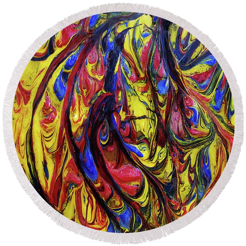 Art Round Beach Towel featuring the painting Colors Of The Wind 1 by Nour Refaat