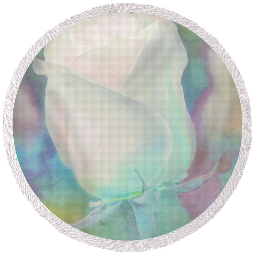Pastel Round Beach Towel featuring the photograph Colors Of This Rose by Hal Halli