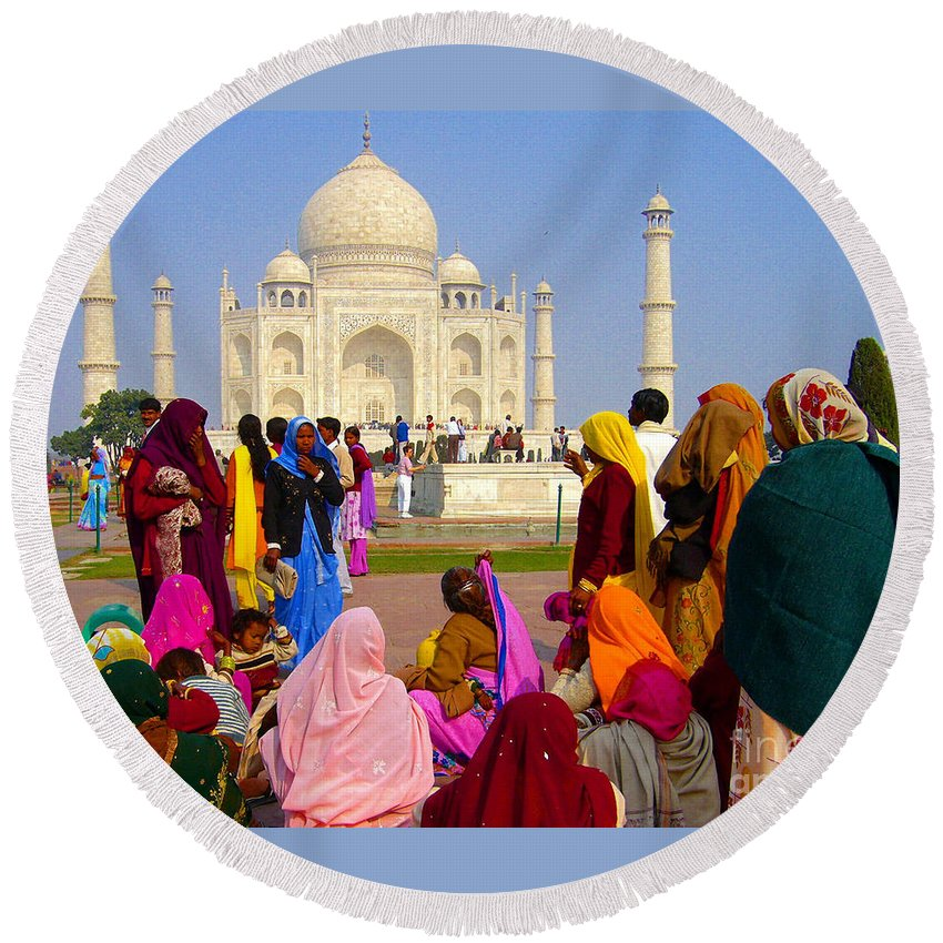 Colors Round Beach Towel featuring the photograph Colorful Saris At Taj Mahal by Sonal Dave