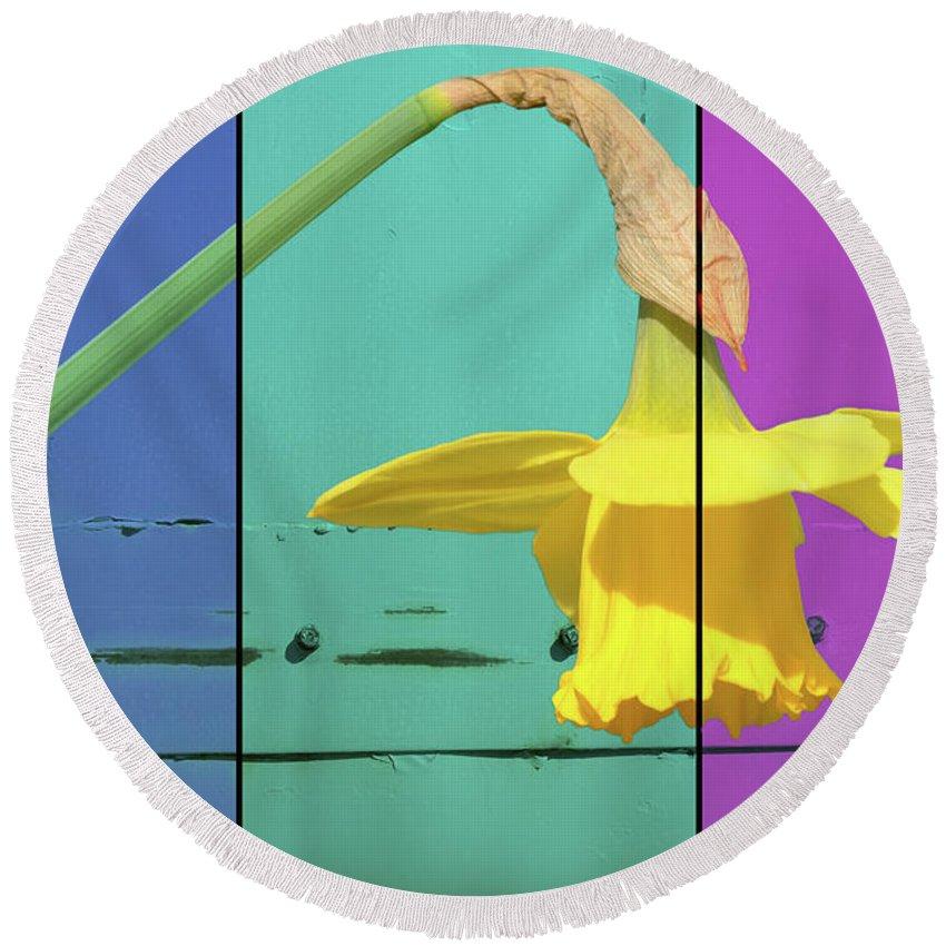 Lisa Knechtel Round Beach Towel featuring the digital art Colour Blocking Spring by Lisa Knechtel