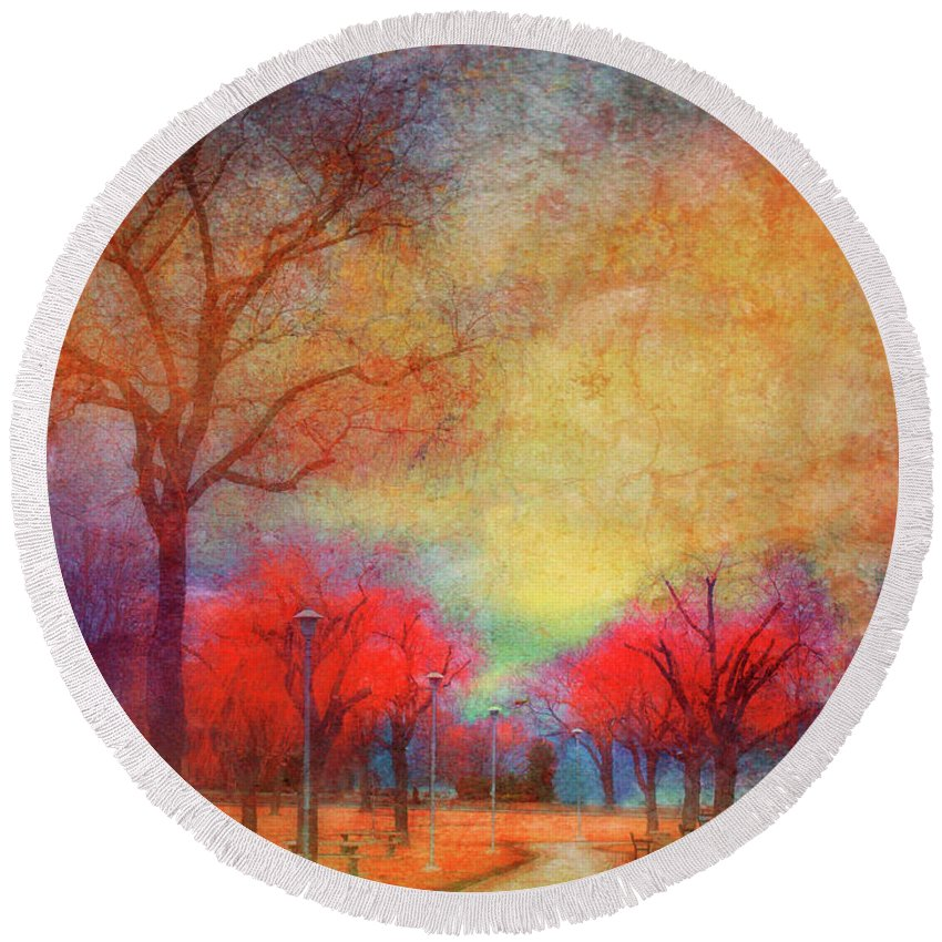 Trees Round Beach Towel featuring the photograph Colour Burst by Tara Turner