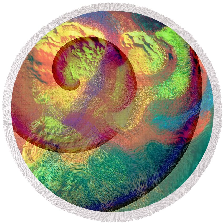 Abstract Round Beach Towel featuring the digital art Colour Spiral by Grant Wilson