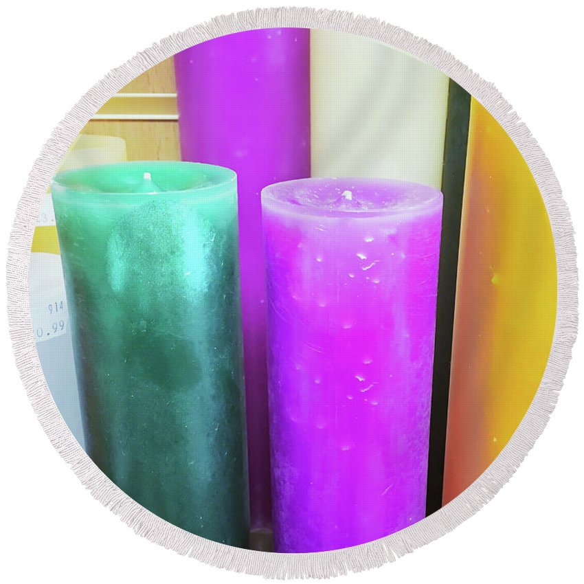 Anniversary Round Beach Towel featuring the photograph Colourful Candles by Tom Gowanlock