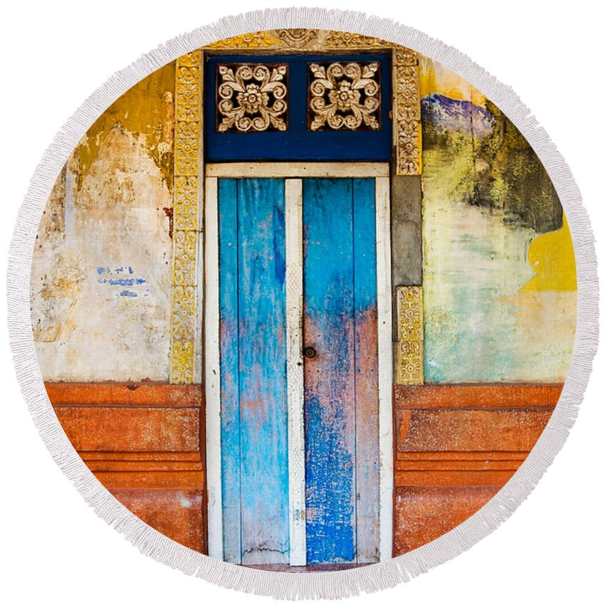 Cambodia Round Beach Towel featuring the photograph Colourful Door by Dave Bowman