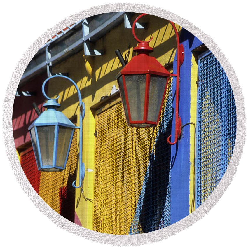 Buenos Aires Round Beach Towel featuring the photograph Colourful Lamps La Boca Buenos Aires by James Brunker