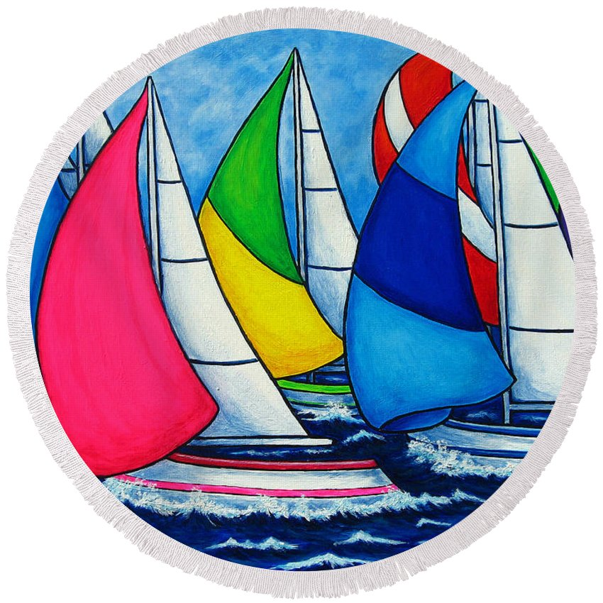 Boats Round Beach Towel featuring the painting Colourful Regatta by Lisa Lorenz