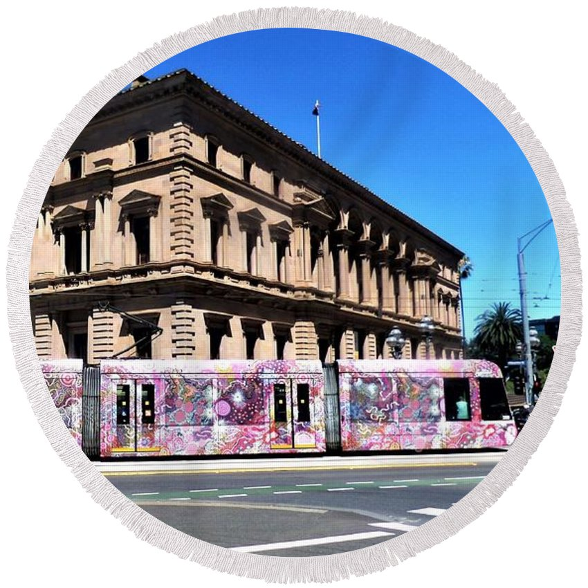 Tram Round Beach Towel featuring the photograph Colourful Tram At Old Treasury Building by Yolanda Caporn