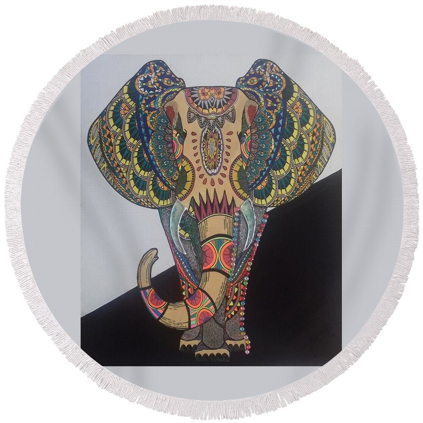 Elephant Round Beach Towel featuring the mixed media Colours In An Elephant by Nupur Menon