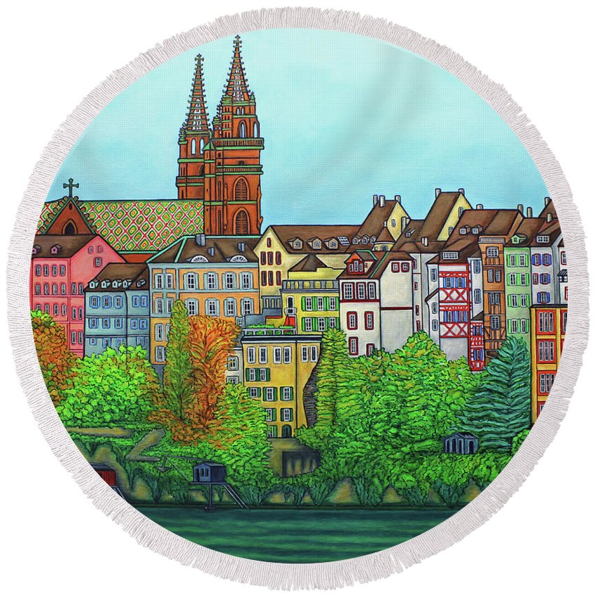 Lisa Lorenz Round Beach Towel featuring the painting Basel, Colours of Basel by Lisa Lorenz