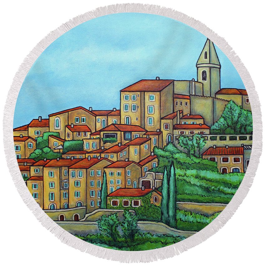 Provence Round Beach Towel featuring the painting Colours of Crillon-le-Brave, Provence by Lisa Lorenz