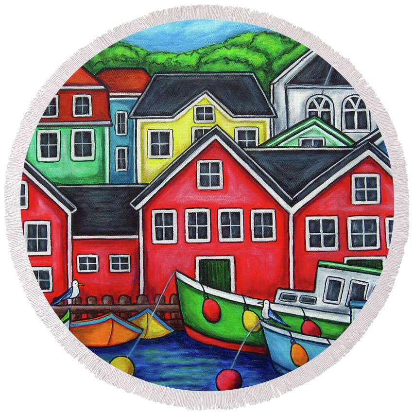 Nova Scotia Round Beach Towel featuring the painting Colours of Lunenburg by Lisa Lorenz