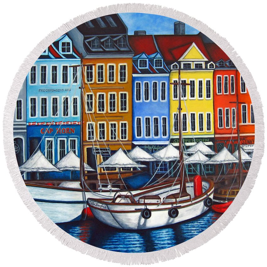 Nyhavn Round Beach Towel featuring the painting Colours Of Nyhavn by Lisa Lorenz
