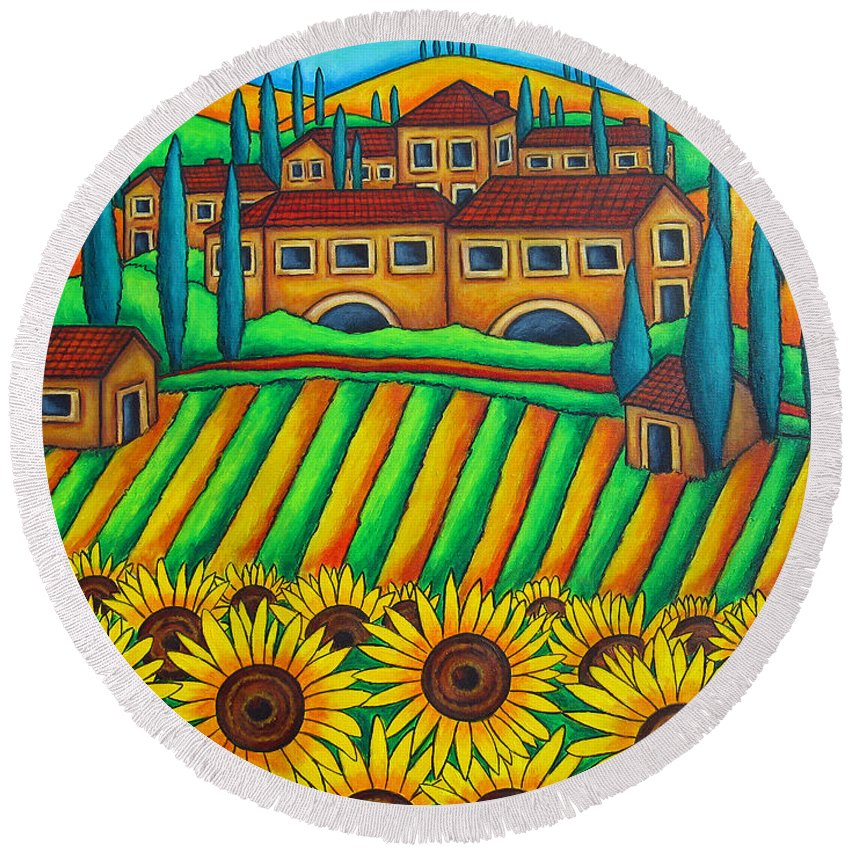 Tuscany Round Beach Towel featuring the painting Colours Of Tuscany by Lisa Lorenz