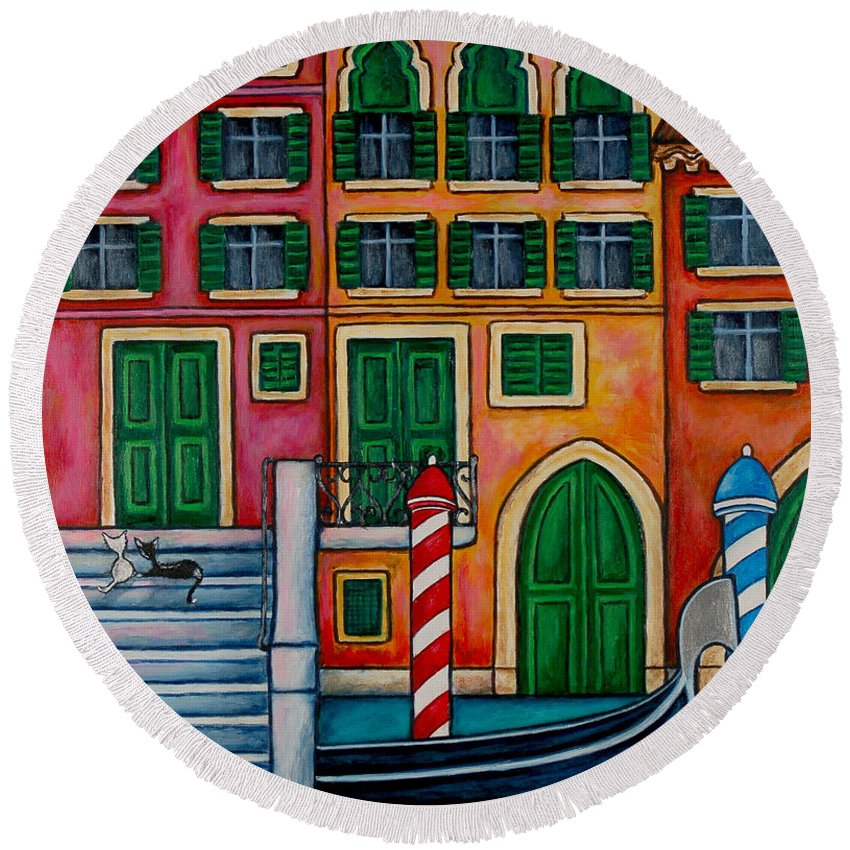 Venice Round Beach Towel featuring the painting Colours Of Venice by Lisa Lorenz