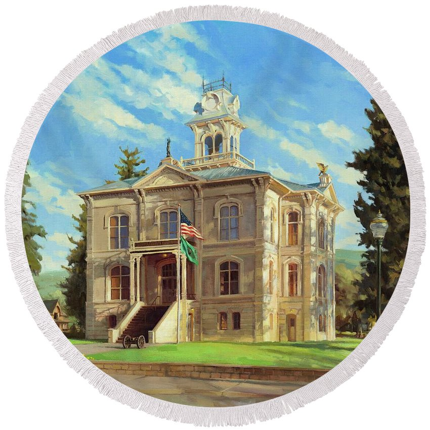 Courthouse Paintings Round Beach Towels