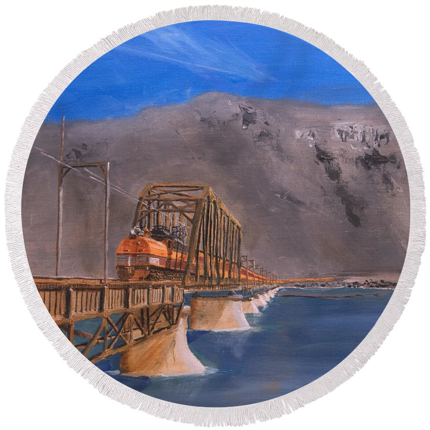 Train Round Beach Towel featuring the painting Columbia Crossing by Christopher Jenkins