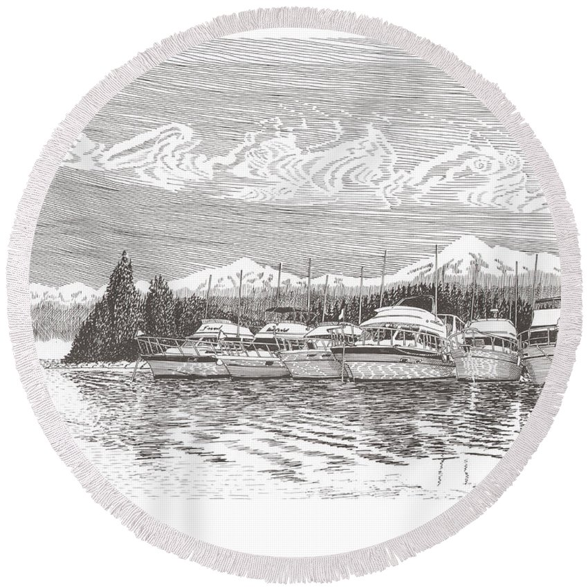 Marine Paintings Marine Art. Canvas Prints Of Boats. Prints Of Boats. Prints Of Waterfront Art. Canvas Prints Of Yachts. Framed Marine Transportation Art Round Beach Towel featuring the drawing Columbia River Raft Up by Jack Pumphrey