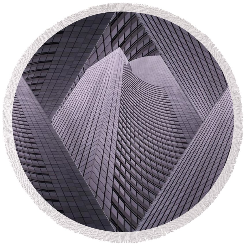 Seattle Round Beach Towel featuring the digital art Columbia Tower Seattle Wa 2 by Tim Allen