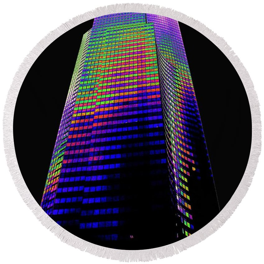 Seattle Round Beach Towel featuring the photograph Columbia Tower Seattle Wa by Tim Allen