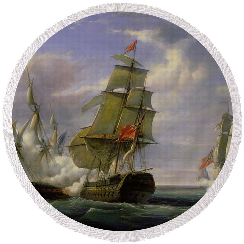 Combat Round Beach Towel featuring the painting Combat Between The French Frigate La Canonniere And The English Vessel The Tremendous by Pierre Julien Gilbert