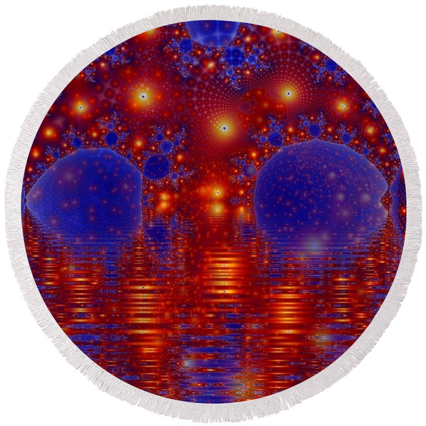 Fractal Art Round Beach Towel featuring the digital art Combinations In Primordal Soup by Ron Bissett