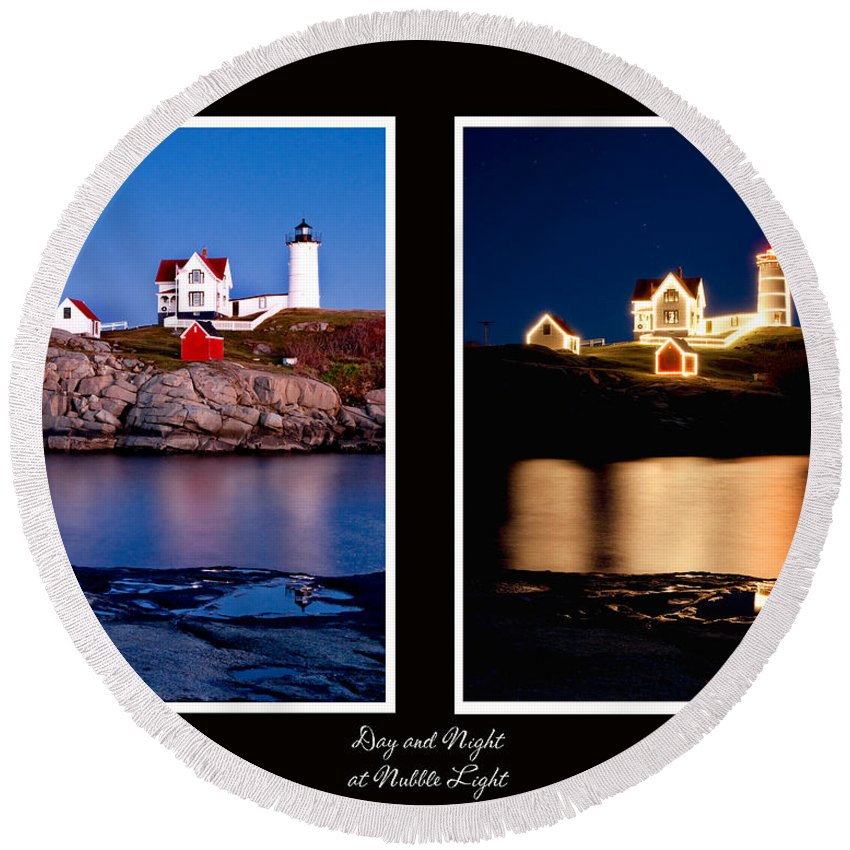 Nubble Round Beach Towel featuring the photograph Combined Nubble by Greg Fortier