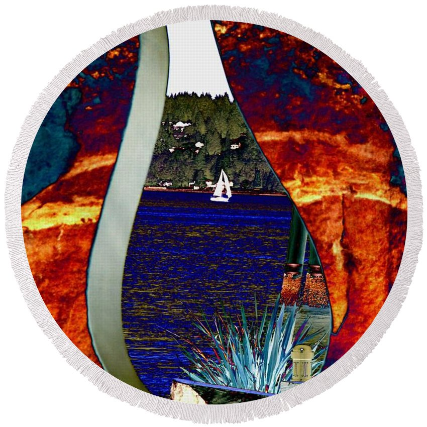 Bremerton Round Beach Towel featuring the photograph Come Sail Away by Tim Allen