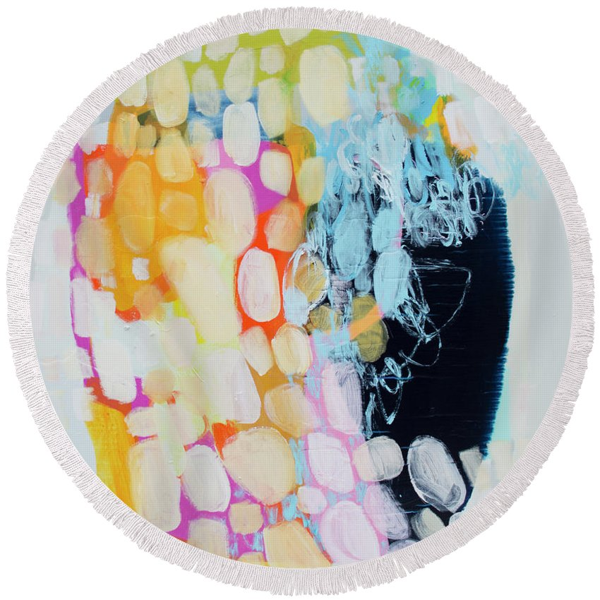 Abstract Round Beach Towel featuring the painting Come To Bed by Claire Desjardins