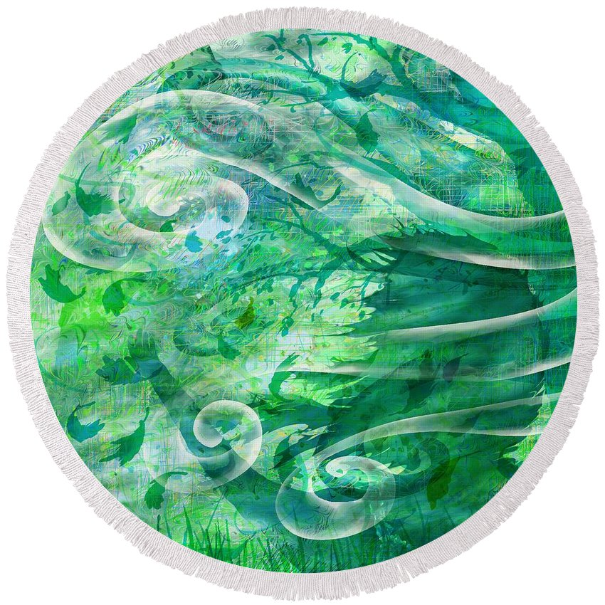 Abstract Round Beach Towel featuring the digital art Come To Me by Rachel Christine Nowicki