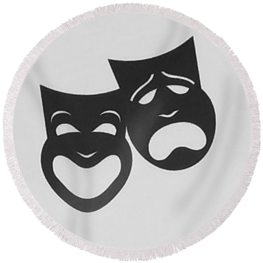 Comedy And Tragedy Round Beach Towel featuring the photograph Comedy N Tragedy B W by Rob Hans