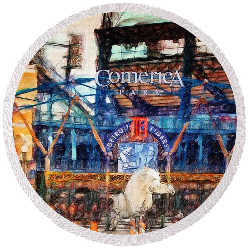Comerica Round Beach Towel featuring the painting Comerica Tigers Detroit by John Farr