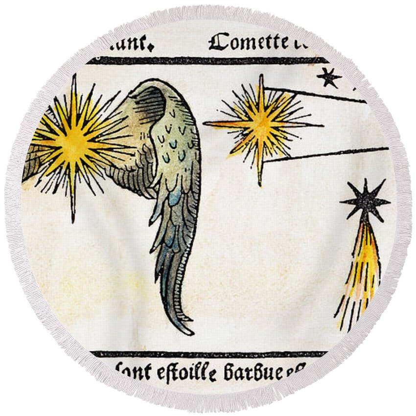 1496 Round Beach Towel featuring the photograph Comet, 1496 by Granger