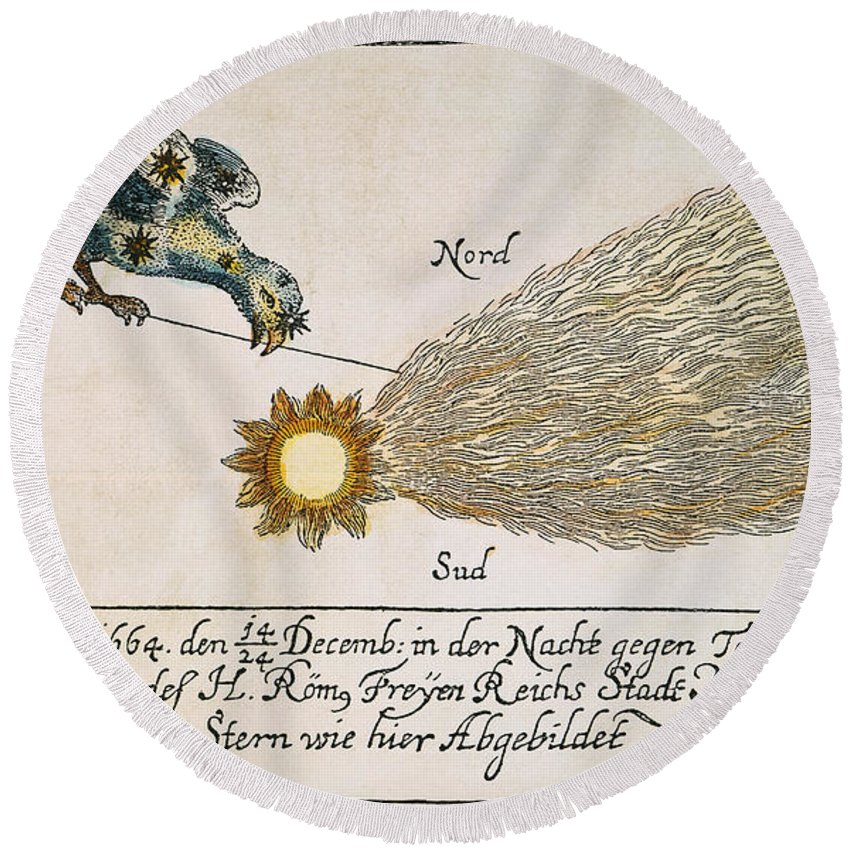1664 Round Beach Towel featuring the photograph Comet, 1664 by Granger