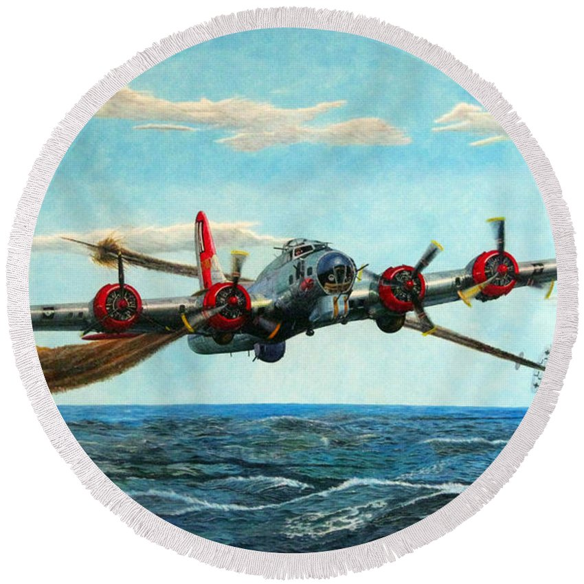 Boeing Round Beach Towel featuring the painting Coming Home - Boeing B-17 Flying Fortress V2 by Martin Hall