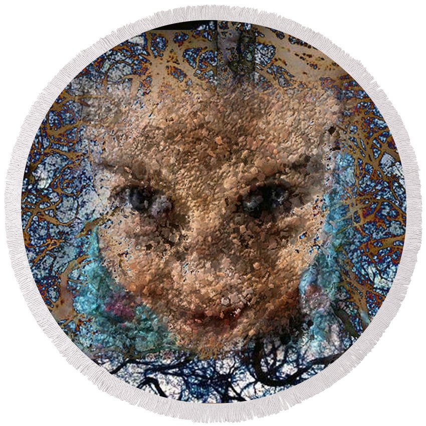 Digital Round Beach Towel featuring the digital art Coming Out by Ioulia Sotiriou