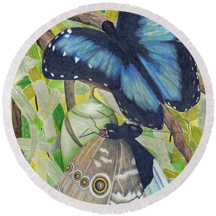 Butterfly Round Beach Towel featuring the painting Coming Out by Mary Tuomi