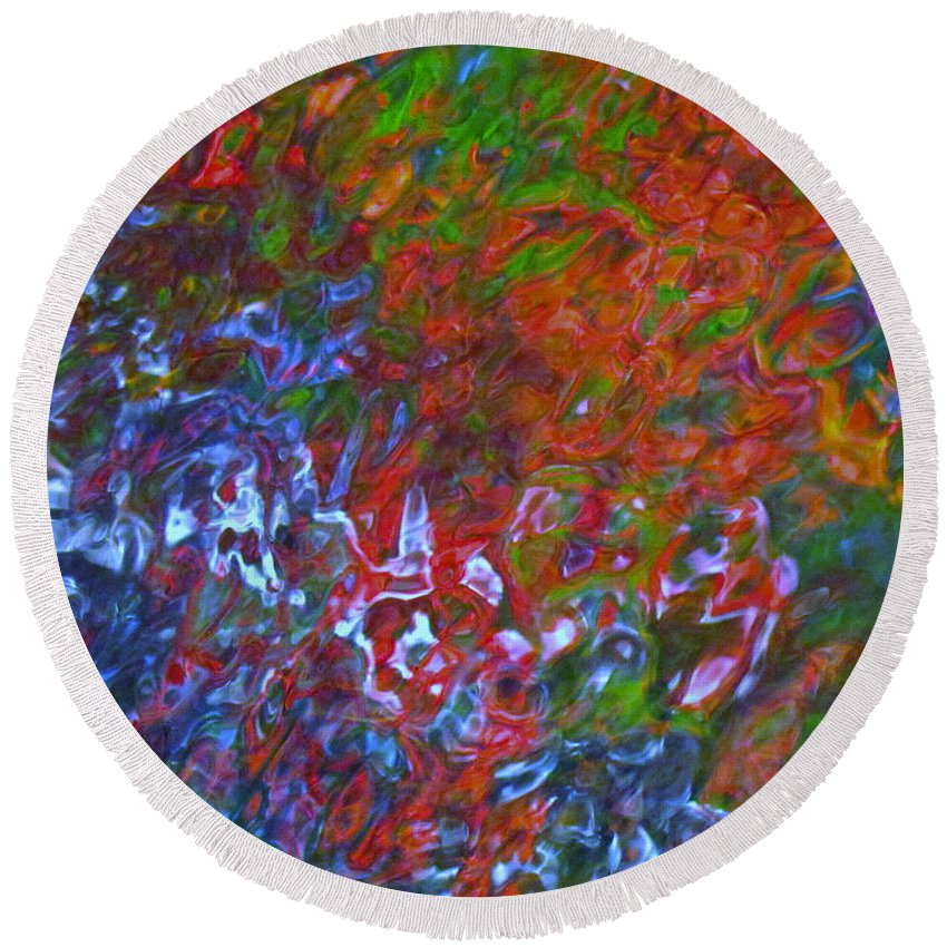 Abstract Round Beach Towel featuring the photograph Coming Together by Sybil Staples