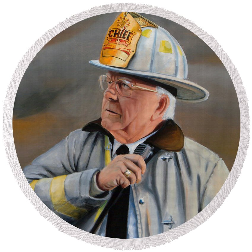 Fire Chief Round Beach Towel featuring the painting Command by Paul Walsh